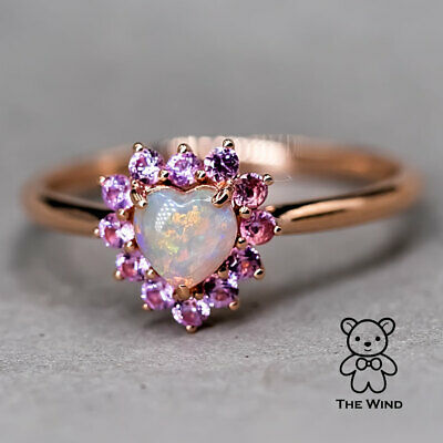 Australian Solid Opal Diamond Engagement Ring 14K Yellow Gold Oval Promise Ring