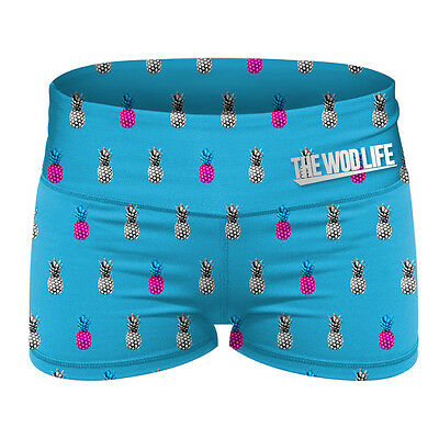The WOD Life - Women's Booty Shorts - Blue Pineapples The WOD Life Crossfit