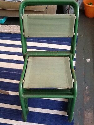 Vintage Metal And Canvas Green Stackable Military Chairs