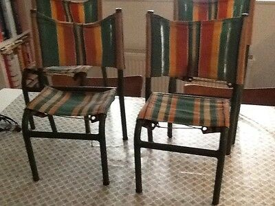 Vintage Metal And Canvas Children's Chairs Set Of Four