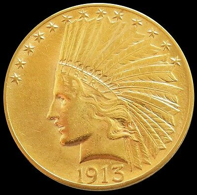 1913 Gold Us $10 Indian Head Eagle Coin About Uncirculated Condition