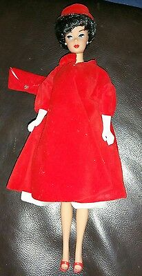 Brunette Bubblecut Reproduction Barbie Doll In Red Flare Outfit