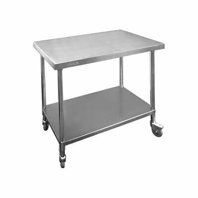 Prep Bench w Undershelf & Castors Full Stainless Steel 1200x700x900mm Commercial