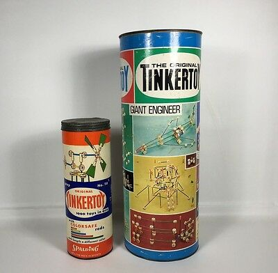 Two (2) Vintage TINKERTOY Construction Sets