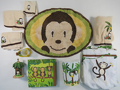 Bathroom Set Of 11 Bed Bath And Beyond Motion Monkey Curtain Rug Towels Soap