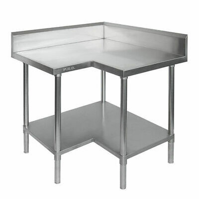 Corner Bench with Undershelf & Splashback Full Stainless Steel 900x900x900mm