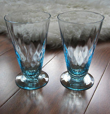 "2 Elegant Glass Blue Diamond Optic Quilted Footed Cone Tumblers 5 1/8"" x 3"""
