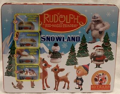 Rudolph Reindeer Snowland with 19 Characters Collectible Tin Set NIB RARE!!!