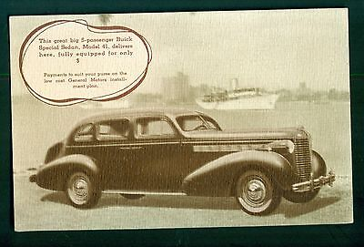 1930's Buick Special Sedan Model 41 Factory Issued Postcard