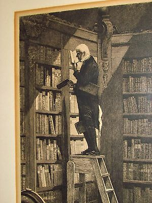 """antique german etching """"the book collector"""" metaphysik hidden scary image signed"""