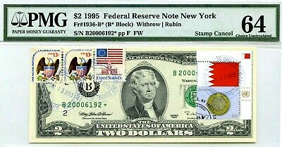 Money Us $2 Dollars 1995 Federal Reserve Star Note New York Unc Flag Of Bahrain