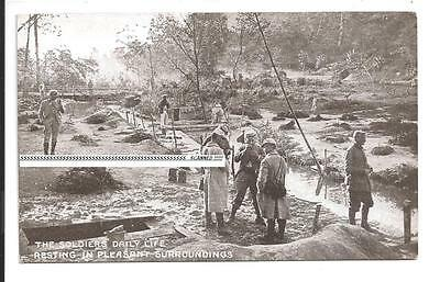 ww1 postcard military photo Soldiers daily life smoko in pleasent surroundings