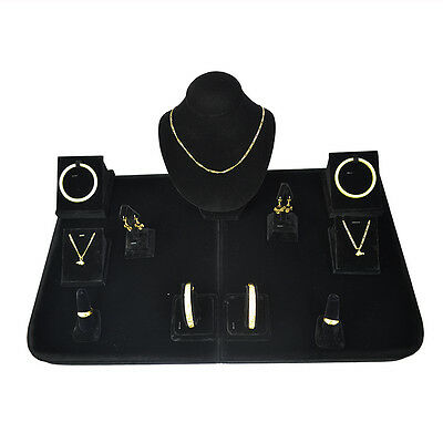 Black Velvet Wooden Jewelry Display Showcase Incounter with Platform Mannequin