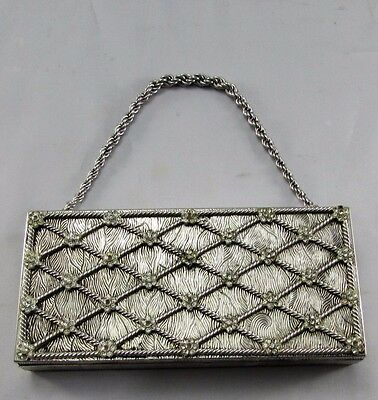 Vintage Evans Silver Rhinestone Compact Evening Clutch Purse with Chain