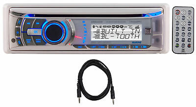 Dual AMB600W Marine Boat CD Radio USB iPhone Bluetooth Receiver+Remote+Aux Cable