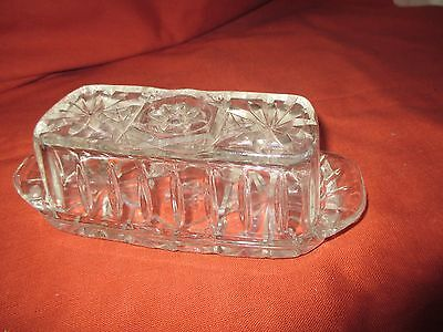 Vintage Clear Glass Butter Dish Anchor Hocking Star of David With Lid
