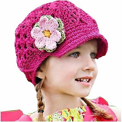 Frogwill Infant Toddler Girl Baby Handmade Knit Crochet Flowers Beanie Hat Cap