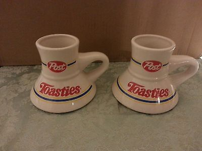2 VINTAGE CERAMIC POST TOASTIES Non Slip Wide Bottom Travel Coffee Mugs Cups
