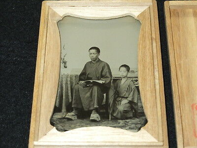 pa335 1870s Japanese Antique Photo : Man with Woodblock Print Book & Boy / Kyoto