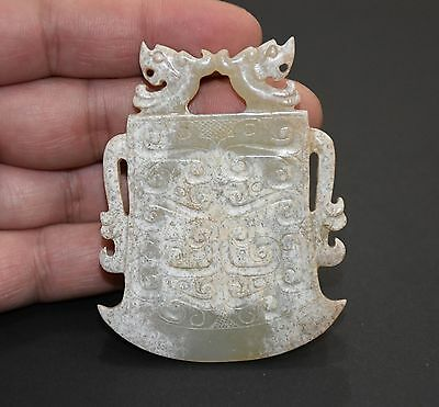 """Chinese Spring and Autumn Period Old Jade Carved Dragon Design Axe """"Pei"""" L 7.0cm"""