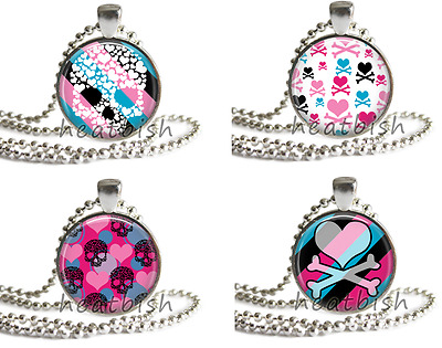 PUNK ROCK Neon Girly Skull and Heart Designs Round Glass Pendant Charm Accessory