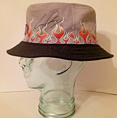COURTNEY FORCE Signed Autographed  NHRA Hat Flame Fishing Style
