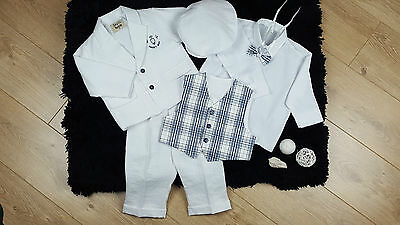BABY BOY SUIT Christening Baptism Outfit white blue bow tie flat cap 9-12 NEW