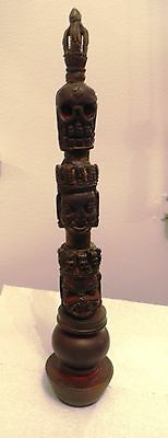 """Old Wooden """"three Face"""" Dorje Phurpa From Bhutan"""