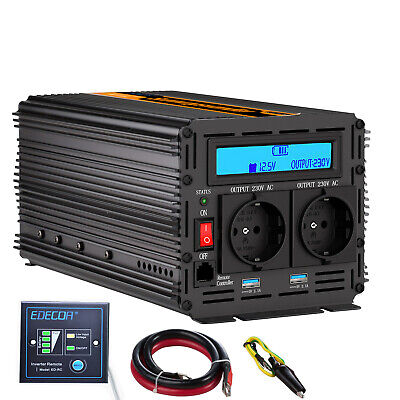 Power Inverter 2000W 4000W 12V 220V Convertitore LCD Display Softstart 2 USB