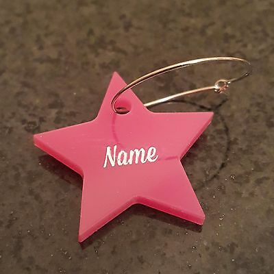 Personalised Engraved Star Name Wine Glass Charms Wedding Hen Any Wording - 21