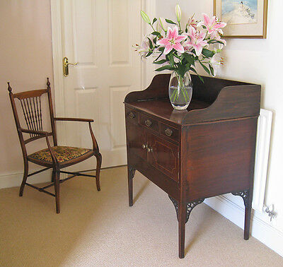 Regency Mahogany & Boxwood Inlaid Gallery Top Washstand with Drawers & Cupboards