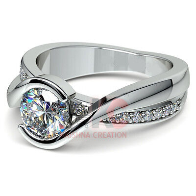1.50CT Off White  Real Moissanite .925 Sterling silver Engagement Ring