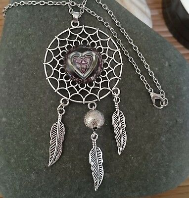 NICE Triquetra Heart Tinity Goddess Dream Catcher Pendant Silver Necklace Pouch