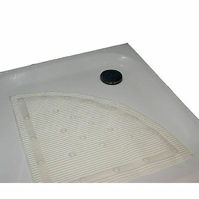 White Stay Put Anti-Microbial Anti-Slip Corner/Quadrant Shower Mat 60x60cm