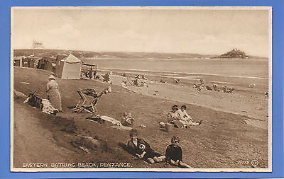 Old Vintage Postcard Eastern Bathing Beach Penzance Cornwall Huts Children