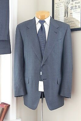 NEW Canali Wool Suit 40R 34/32 Solid Blue 2 Button Jacket Flat Front Pants Cuff