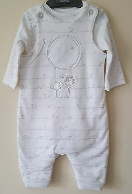 "Baby Boys ""ex M&s"" My First Wadded Dungaree & Bodysuit Set 2 Piece Set"