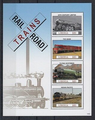 Trains, Ghan Flying Scotsman Indian Pacific Railroad, Liberia 2014 MNH SS -R23