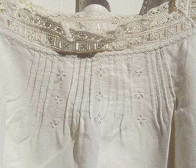 Vintage French Camisole Dress Nightdress Linen underslip Handmade lace broderie