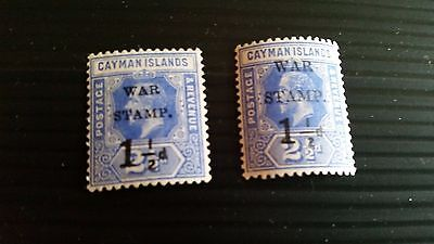 Cayman Islands 1917 Sg 53-54 War Stamps. Mh