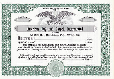 American Rug and Carpet, Incorporated -shares