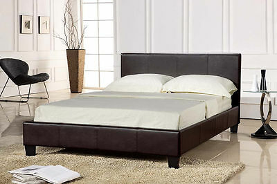 Double Size Bed Frame Faux Brown Leather With Slats Bedroom Furniture Headboard