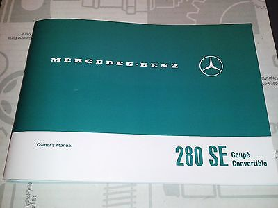 new Mercedes-Benz 280SE W111 owners manual coupe / convertible