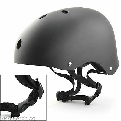 VÉLO BICYCLETTE BMX SKATE SKATEBOARD STUNT NOIR MAT CASQUE - MEDIUM 54-58cm