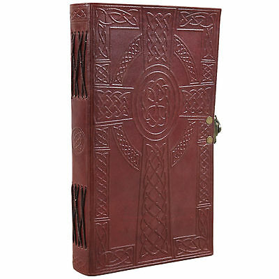 Celtic Cross Leather Blank Unlined Christian Journal Notebook Sketchbook Diary