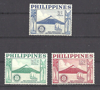 Philippines ,1955 , Rotary , Set Of 3 ,  Perf,  Vlh