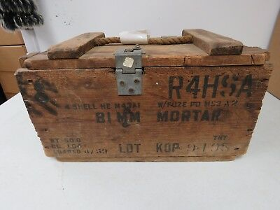 Vintage Military 81Mm Wooden Mortar Shell Ammo Box/crate Loaded 4/53 #751