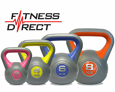 Fitness Direct Vinyl Kettlebell 2,4,6 & 8kg Set Tone Strength Gym Kettle bell