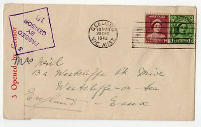 Australia: 1943 Censored cover Geelong to U.K.