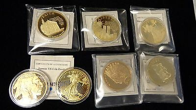 American 24kt Gold Clad Famous American Proof Gold Coin Collection